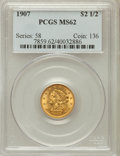 Liberty Quarter Eagles: , 1907 $2 1/2 MS62 PCGS. PCGS Population (1695/6388). NGC Census:(1940/5557). Mintage: 336,200. Numismedia Wsl. Price for pr...