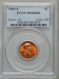 Lincoln Cents: , 1969-S 1C MS66 Red PCGS. PCGS Population (166/10). NGC Census:(137/7). Mintage: 547,309,632. Numismedia Wsl. Price for pro...