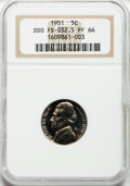 Proof Jefferson Nickels, 1951 5C Double Die Obverse PR66 NGC. FS -032.5. NGC Census:(272/646). PCGS Population (637/308). Mintage: 57,500. Numismed...