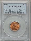 Lincoln Cents: , 1977 1C MS67 Red PCGS. PCGS Population (80/2). NGC Census: (28/1).Numismedia Wsl. Price for problem free NGC/PCGS coin in...