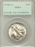 Walking Liberty Half Dollars: , 1946-D 50C MS64 PCGS. PCGS Population (6262/10874). NGC Census:(3071/8582). Mintage: 2,151,000. Numismedia Wsl. Price for ...
