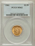 Liberty Quarter Eagles: , 1901 $2 1/2 MS62 PCGS. PCGS Population (433/1235). NGC Census:(580/1359). Mintage: 91,100. Numismedia Wsl. Price for probl...