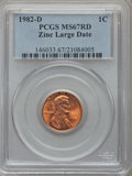 Lincoln Cents, 1982-D 1C Zinc Large Date MS67 Red PCGS. PCGS Population (201/11).Numismedia Wsl. Price for problem fr...