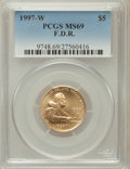 Modern Issues, 1997-W G$5 F.D.R. Gold Five Dollar MS69 PCGS. PCGS Population(1573/221). NGC Census: (363/440). Numismedia Wsl. Price for...