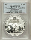 China:People's Republic of China, 2013 10 Y Panda Silver (1oz), MS69 PCGS. PCGS Population (3693/4948). ...