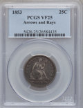 Seated Quarters: , 1853 25C Arrows and Rays VF25 PCGS. PCGS Population (30/1109). NGCCensus: (21/955). Mintage: 15,210,020. Numismedia Wsl. P...