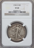 Walking Liberty Half Dollars: , 1938-D 50C VF20 NGC. NGC Census: (153/1753). PCGS Population(229/3285). Mintage: 491,600. Numismedia Wsl. Price for proble...