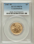Modern Issues, 1987-W G$5 Constitution Gold Five Dollar MS70 PCGS. PCGS Population(1221). NGC Census: (4932). Mintage: 214,225. Numismed...