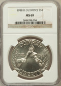 Modern Issues, 1988-D $1 Olympic Silver Dollar MS69 NGC. NGC Census: (1828/67).PCGS Population (1987/59). Mintage: 191,000. Numismedia W...