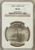 Modern Issues, 1986-P 50C Statue of Liberty Silver Dollar MS69 NGC. NGC Census:(3401/211). PCGS Population (4017/155). Mintage: 723,635....