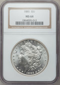 Morgan Dollars: , 1885 $1 MS64 NGC. NGC Census: (29870/11775). PCGS Population(24067/9364). Mintage: 17,787,768. Numismedia Wsl. Price for p...