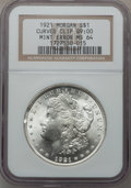 Errors, 1921 $1 Morgan Dollar --Curved Clip @9:00-- MS64 NGC. NGC Census:(35713/8339). PCGS Population (23762/4233). Mintage: 44,69...