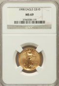 Modern Bullion Coins, 1998 G$10 Quarter-Ounce Gold Eagle MS69 NGC. NGC Census: (574/19).PCGS Population (692/17). Numismedia Wsl. Price for pro...