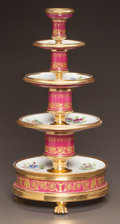 Ceramics & Porcelain, A SCHOELCHER PARIS PORCELAIN FOUR-TIERED GILT AND PAINTED PORCELAIN DESSERT STAND. Marc Schoelcher, Paris, France, circa 183...