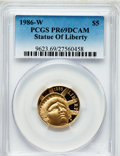 Modern Issues, 1986-W G$5 Statue of Liberty Gold Five Dollar PR69 Deep Cameo PCGS.PCGS Population (10929/609). NGC Census: (6815/3520). ...