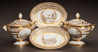 A PAIR OF STONE, COQUEREL & LE GROS TRANSFER PRINTED LIDDED SOUP TUREENS WITH UNDER PLATES Stone, Coquerel & Le...
