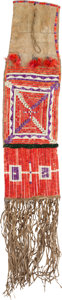 American Indian Art:Beadwork and Quillwork, Quilled Pipe Bag Belonging to He Frightens (A.K.A. Joe Frightens),Son of Chief Iron Shell. ...