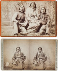 American Indian Art:Photographs, AN ARAPAHO GROUP PORTRAIT, CABINET CARD BY BAKER & JOHNSTON,EVANSTON, WYOMING AND A PORTRAIT OF A SIOUX WOMAN, STEREOVIEW BY... (Total: 2 Items)