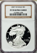 Modern Bullion Coins, 2007-W $1 Silver Eagle PR70 Ultra Cameo NGC. NGC Census: (7275).PCGS Population (1851). Numismedia Wsl. Price for problem...