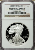 Modern Bullion Coins, 2008-W $1 Silver Eagle PR70 Ultra Cameo NGC. NGC Census: (12165).PCGS Population (1331). Numismedia Wsl. Price for proble...