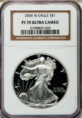Modern Bullion Coins, 2004-W $1 Silver Eagle PR70 Ultra Cameo NGC. NGC Census: (9021).PCGS Population (1758). Numismedia Wsl. Price for problem...