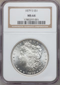 """Morgan Dollars, (2)1879-S $1 MS64 NGC. The current Coin Dealer Newsletter(Greysheet) wholesale """"bid"""" price... (Total: 2 coins)"""
