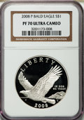 Modern Issues, 2008-P $1 Bald Eagle PR70 Ultra Cameo NGC. NGC Census: (3824). PCGSPopulation (308). Numismedia Wsl. Price for problem fr...