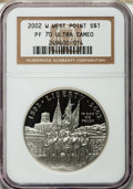 Modern Issues: , 2002-W $1 West Point Silver Dollar PR70 Ultra Cameo NGC. NGCCensus: (1658). PCGS Population (199). Numismedia Wsl. Price ...