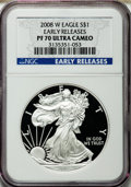 Modern Bullion Coins, 2008-W $1 Silver Eagle Early Releases PR70 Ultra Cameo NGC. NGCCensus: (8880). PCGS Population (1984)....