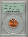 Lincoln Cents, (3)1995 1C Doubled Die Obverse MS66 Red PCGS. ... (Total: 3 coins)