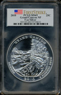 Modern Bullion Coins, 2010 25C Grand Canyon 5 Ounce Silver, First Strike MS69 PCGS. PCGSPopulation (1327/0). NGC Census: (5003/0). The image d...
