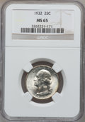 Washington Quarters: , 1932 25C MS65 NGC. NGC Census: (345/92). PCGS Population (519/171).Mintage: 5,404,000. Numismedia Wsl. Price for problem f...