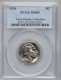 Buffalo Nickels: , 1936 5C MS65 PCGS. Ex: Teich Family Collection. PCGS Population(2142/1242). NGC Census: (921/1119). Mintage: 119,001,424. ...