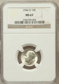 Roosevelt Dimes: , 1946-D 10C MS67 NGC. NGC Census: (499/2). PCGS Population (106/0).Mintage: 61,043,500. Numismedia Wsl. Price for problem f...
