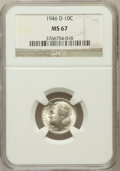 Roosevelt Dimes: , 1946-D 10C MS67 NGC. NGC Census: (497/2). PCGS Population (107/0).Mintage: 61,043,500. Numismedia Wsl. Price for problem f...