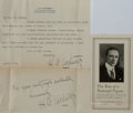"Autographs:Authors, American Author H. C. Witwer Typed Letter Signed ""H. C.Witwer"". One page, 7.25"" x 11.25"", on his personal letterhead,L... (Total: 2 Items)"
