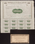 Confederate Notes:Group Lots, Ball 9 Cr. 8 $1000 1861 Bond Very Fine.. ...