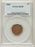 Indian Cents, 1866 1C XF45 PCGS. PCGS Population (85/363). NGC Census: (56/389).Mintage: 9,826,500. Numismedia Wsl. Price for problem fr...