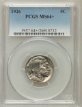 Buffalo Nickels, 1926 5C MS64+ PCGS. PCGS Population (931/1344). NGC Census:(479/681). Mintage: 44,693,000. Numismedia Wsl. Price for probl...