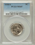 Buffalo Nickels, 1936-S 5C MS65 PCGS. PCGS Population (1625/697). NGC Census:(710/380). Mintage: 14,930,000. Numismedia Wsl. Price for prob...