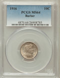 Barber Dimes: , 1916 10C MS64 PCGS. PCGS Population (331/156). NGC Census:(307/185). Mintage: 18,490,000. Numismedia Wsl. Price for proble...