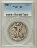 Walking Liberty Half Dollars: , 1920-D 50C Fine 12 PCGS. PCGS Population (46/466). NGC Census:(12/276). Mintage: 1,551,000. Numismedia Wsl. Price for prob...