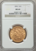 Liberty Eagles, 1893 $10 MS64 NGC....