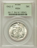 Walking Liberty Half Dollars: , 1942-S 50C MS64 PCGS. PCGS Population (3408/2678). NGC Census:(2155/1329). Mintage: 12,708,000. Numismedia Wsl. Price for ...