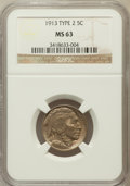 Buffalo Nickels, 1913 5C TYPE 2 MS63 NGC. NGC Census: (316/1090). PCGS Population(469/1768). Mintage: 29,858,700. Numismedia Wsl. Price for...