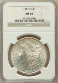 Morgan Dollars: , 1881-S $1 MS66 NGC. NGC Census: (15997/4152). PCGS Population(12118/1716). Mintage: 12,760,000. Numismedia Wsl. Price for ...
