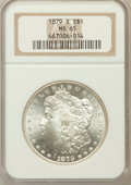 Morgan Dollars, 1879-S $1 MS65 NGC. NGC Census: (21275/9035). PCGS Population(22883/8152). Mintage: 9,110,000. Numismedia Wsl. Price for p...