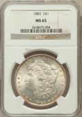 Morgan Dollars: , 1883 $1 MS65 NGC. NGC Census: (3882/929). PCGS Population(3852/919). Mintage: 12,291,039. Numismedia Wsl. Price forproble...