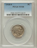 Buffalo Nickels, 1918-S 5C VF30 PCGS. PCGS Population (11/627). NGC Census:(11/530). Mintage: 4,882,000. Numismedia Wsl. Price for problem ...