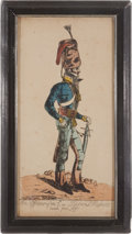 "Militaria:Ephemera, ""An Officer of the 7th, or Queen's Hussars taken from Life""Print ..."